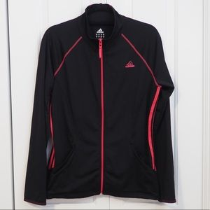 Adidas Full Zip Up Jacket Pink Striped Black Large